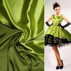 Атлас стрейч хамелеон салатово-зелений ш.150