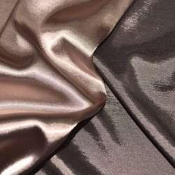Атлас стрейч хамелеон персиково-коричневий ш.150