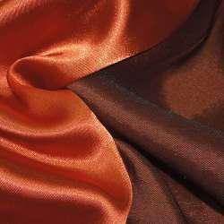 Стрейч атлас хамелеон оранжево коричневый ш.150