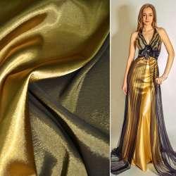 Стрейч атлас хамелеон темное золото ш.150