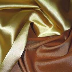 Стрейч атлас хамелеон золотисто терракотовый ш.150
