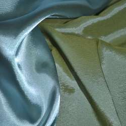 Стрейч атлас хамелеон зелено голубой ш.150