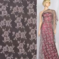 Мереживне полотно стрейч дрібні трояндочки попелясто-рожеве, ш.150