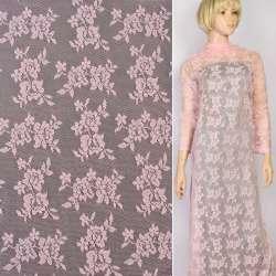 Мереживне полотно стрейч дрібні трояндочки рожеве, ш.145