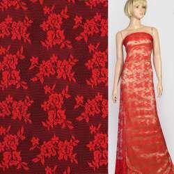 Мереживне полотно стрейч дрібні трояндочки червоне, ш.145