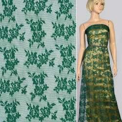 Мереживне полотно стрейч дрібні трояндочки зелене темне, ш.145