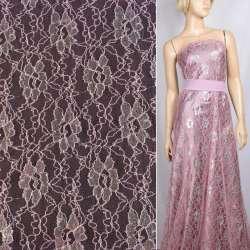 Гіпюр рожевий з сріблястим люрексом квіти