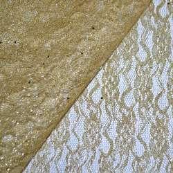 Гіпюр золотистий зі штампом і блискітками (жорсткий) ш.158