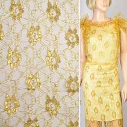 Гіпюр золотистий з золотим люрексом квіти