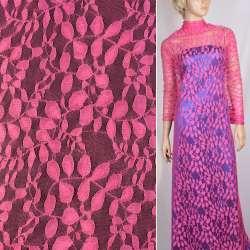 Гіпюр яскраво-рожевий з листям ш.150