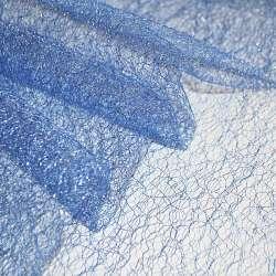 Гіпюр-павутинка синя світла з сріблястим люрексом ш.160
