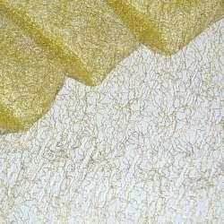 Гіпюр-павутинка жовта із золотистим люрексом ш.160