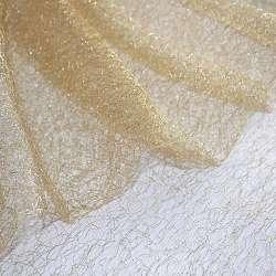 Гіпюр-павутинка коричнева світла з сріблястим люрексом ш.160