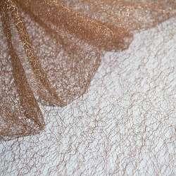 Гіпюр-павутинка коричнево-рожева з срібним люрексом ш.160