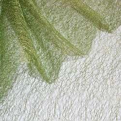 Гіпюр-павутинка зелена з золотистим люрексом ш.160