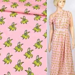 Коттон рожевий веселі банани, ш.145