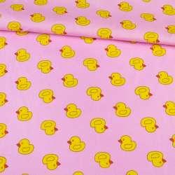 Коттон рожевий в качечки, ш.145
