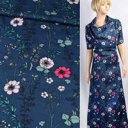 Коттон синій в рожеві квіти, зелене листя, ш.140