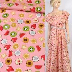 Коттон рожевий в різнокольорові ківі, яблуко, полуницю, ш.147