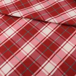 Коттон біло-рожевий в червону клітку ш.113