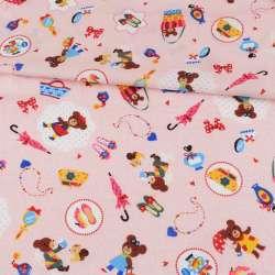 Коттон стрейч рожевий, ведмедики, сумочки, ш.110