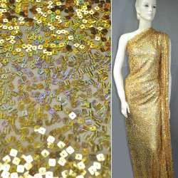 Сітка золота з квадратними переливаючимися паєтками, ш.150