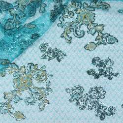 Павутинка блакитна з бежево-блакитними квітами з паєток ш.130