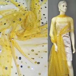 Сітка жовта з сріблястими паєтками ш.140