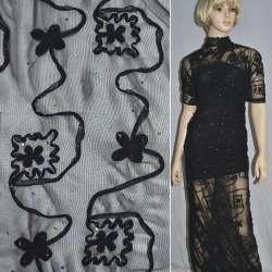 Сітка стрейч чорна з настрочені чорними квітами і намистинами