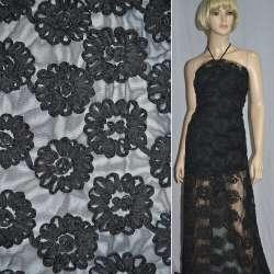 Сітка чорна з нашитими чорними квітами з тафти