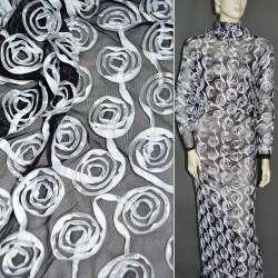 Сітка стрейч чорна з білими квітами, ш.140