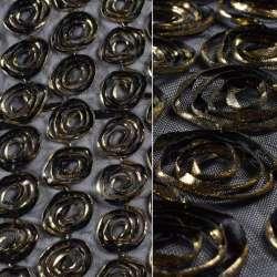 Сітка стрейч чорна із золотими квітами, ш.140