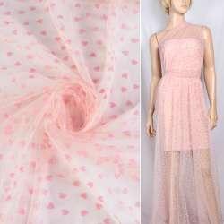 Фатин рожевий з рожевими сердечками (флок), ш.150