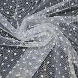 фатин білий в білий горох ш.150 см.