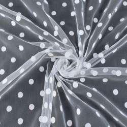 Фатин белый в белый горох (флок), ш.155