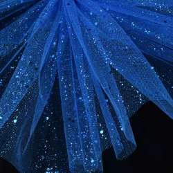 Фатин жорсткий з блискітками синій ультрамарин ш.160