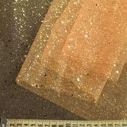 Фатин жорсткий з блискітками жовто-помаранчовий ш.160