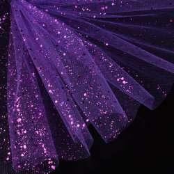 Фатин жорсткий з блискітками фіолетовий яскравий ш.160