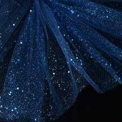 Фатин жорсткий з блискітками синій темний ш.160