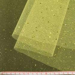 Фатин жорсткий з блискітками лимонний ш.160