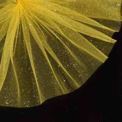 Фатин жорсткий з блискітками жовтий яскравий ш.160