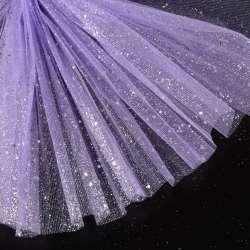Фатин жорсткий з блискітками сріблястими бузковий ш.160
