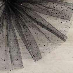 Фатин жорсткий з блискітками чорний ш.165