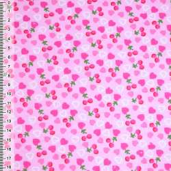 Фланель рожева з сердечками і ягідками ш.105