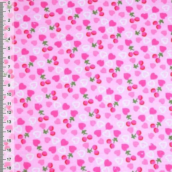 фланель розовая с сердечками и ягодками ш.105