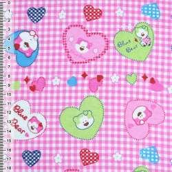 "фланель розовая сердечки с ""мишками"" ш.110"