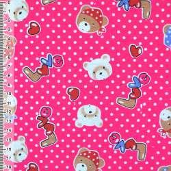 """фланель ярко-розовая с мишками """"LOVE"""" ш.110"""