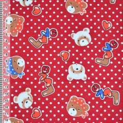 Фланель красная с мишками LOVE ш.110