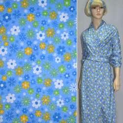 фланель голубая с разноцветн. цветами ш.110
