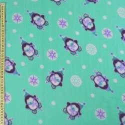 Фліс бірюзовий, пінгвіни і сніжинки, ш.170